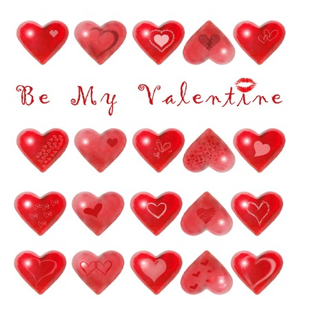 Be My Valentine - Red hearts isolated on white background Stock Photo - 4111820