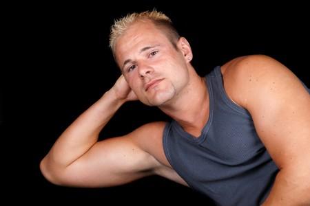 portrait of muscular bodybuilder photo