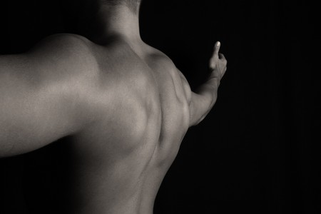 bare shoulders: Muscular Back of a Bodybuilder over Black
