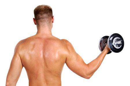 bodybuilder holding dumbbell photo