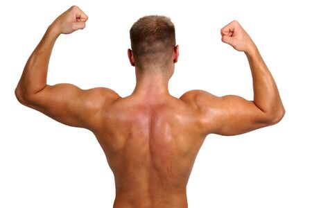 back training: bodybuilder showing his muscles