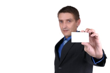 businessman holding blank card Stock Photo - 4119348