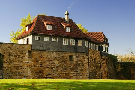 Ancient houses in castle wall