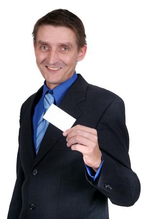 Businessman holding blank card Stock Photo - 4135763