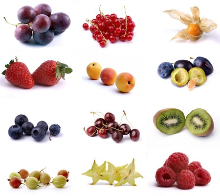 Poster of twelve different fruits isolated on white
