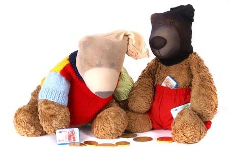 Beary Bank Robbers wearing masks gathering chocolate money Reklamní fotografie