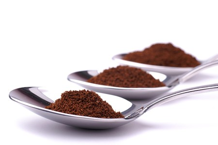 Spoons with powdered coffee