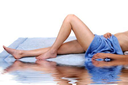 woman enjoying spa treatment Stock Photo