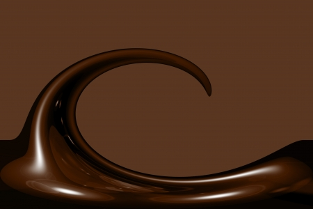 illustration of liquid chocolate swirl with lots of copy space Stock Photo