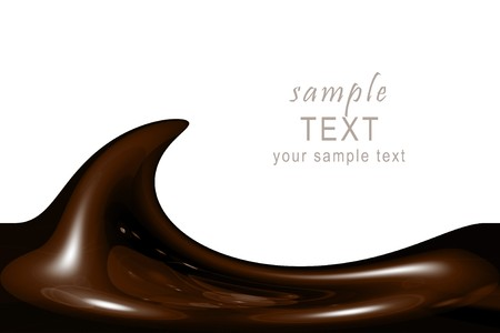melted chocolate: illustration of liquid chocolate swirl with lots of copy space Stock Photo