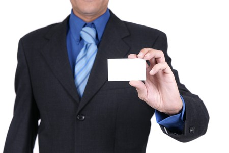 businessman holding blank card Stock Photo - 4170883