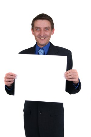 businessman holding out blank sign Stock Photo - 4170879