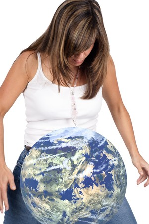 Young woman accidentally dropping the earth - motion blur at hands Stock Photo