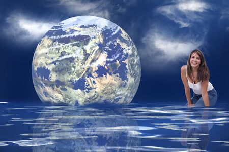 geosphere: The earth floating towards a woman