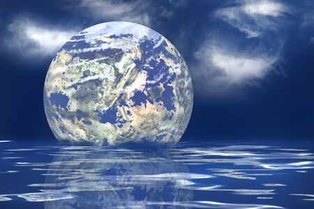 geosphere: The earth floating in an ocean to symbolize the melting
