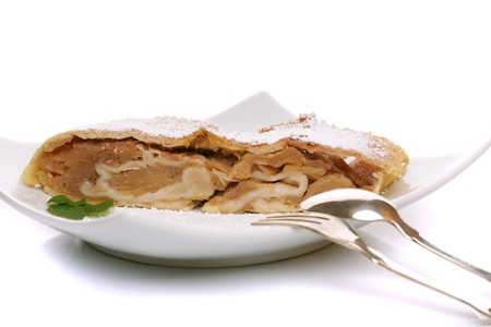 cinammon: Slice of freshly baked apple strudel with powdered sugar Stock Photo