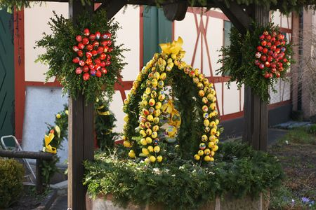 well made: Traditional Easter Well in Southern Germany