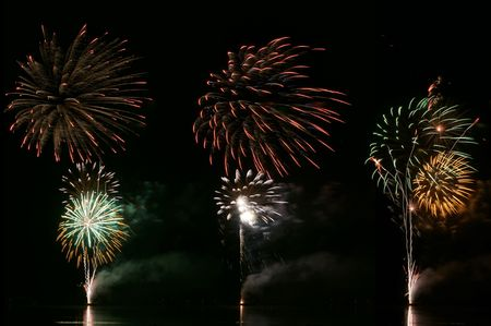 Beautiful fireworks for celebration over dark sky. Stock Photo - 4794054