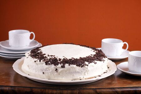 afternoon fancy cake: Lovely homemade torte with chocolate chip for special occasion Stock Photo