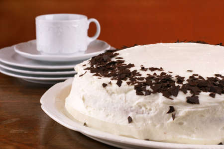 afternoon fancy cake: Lovely homemade torte with chocolate chip  Stock Photo