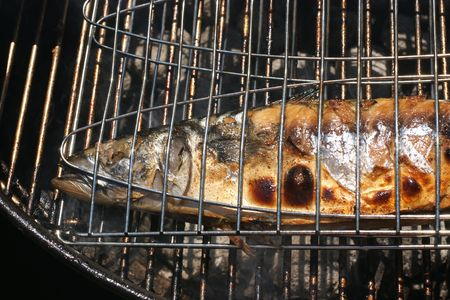 Cooking a fresh mackerel fish on a grill. photo