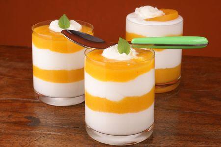 Fresh yoghurt and peach dessert Stock Photo