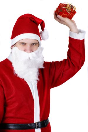 weihnachtsmann: Santa claus throwing his presents Stock Photo
