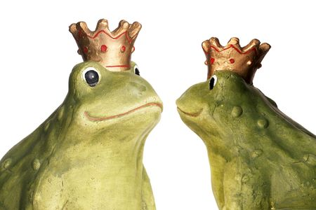 Green frog wearing a golden crown isolated over white. Reklamní fotografie