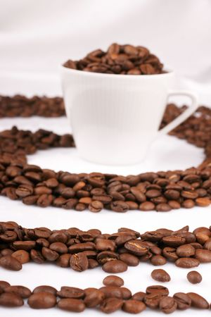 White cup filled with fresly roasted coffee beans. photo