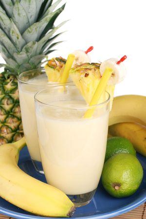 Delicious fresh milkshake mixed out of several fresh fruit. photo