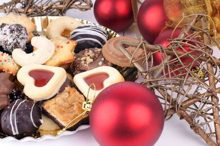 Detail of delicious Christmas cookies with chocolate  photo