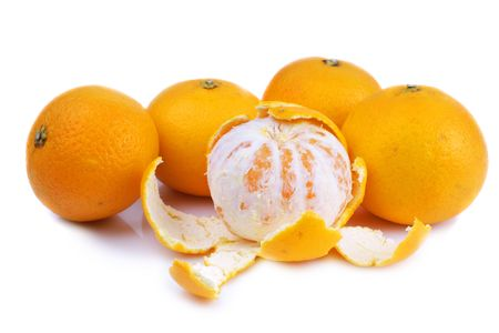 clementine fruit: Fresh Clementine citrus fruit on white background