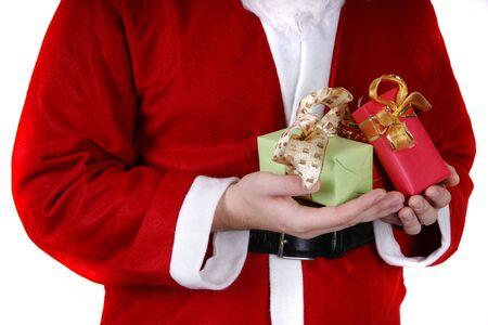 weihnachtsmann: Santa Claus offering a present