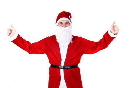 weihnachtsmann: Santa Claus with thumbs up Stock Photo