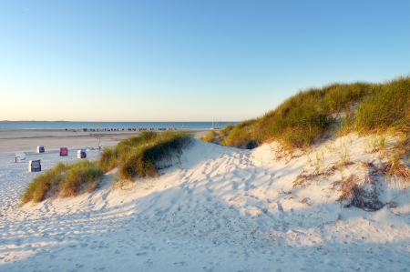 View of sunny beach in Amrum, Northern Germany Stock Photo