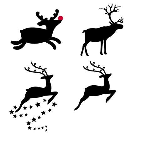 rudolph the red nosed reindeer: Christmas Reindeer Selection Illustration