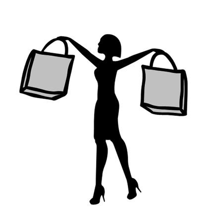 Vrouw met boodschappentassen Vector Illustratie