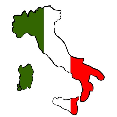Flag Map of Italy Vector
