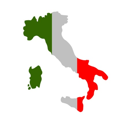 Italian Flag Map  Vector
