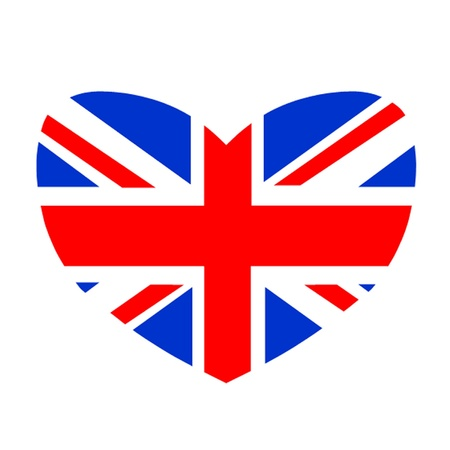 Heart Shaped British Flag Vector