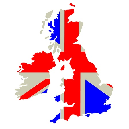 england politics: Britain - country outline and flag. Illustration