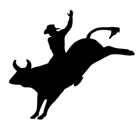bucking horse: Rodeo Bull Rider Illustration