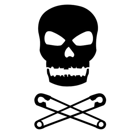 Skull and Crossed Safety Pins Vector