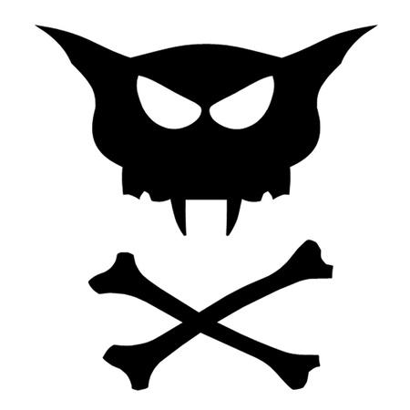 skull and crossed bones: Cat cr�neo y huesos cruzados Vectores