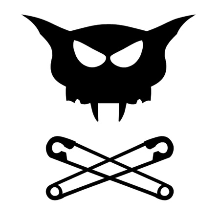 Cat Skull and Crossed Safety Pins Vector