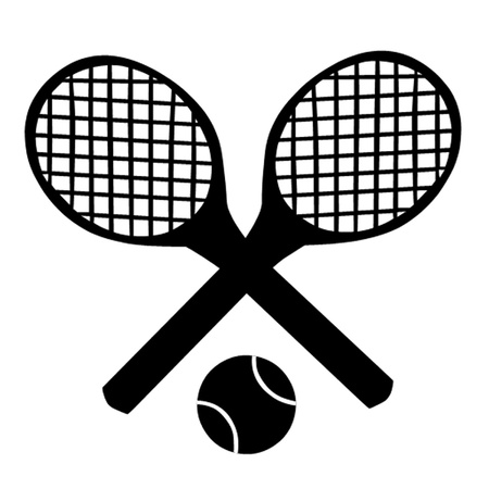 tennis court: Tennis Rackets and Ball. Illustration