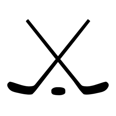Ice Hockey Sticks and Puck Vector