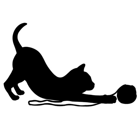 silhouette de chat: Chaton jouant avec une pelote de laine. Illustration