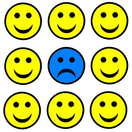 dissatisfaction: Sad smiley standing out in a crowd of happy smileys  Illustration