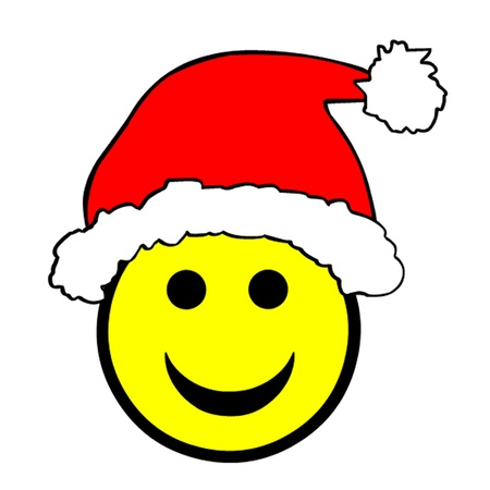 Christmas Santa Hat Smiley Vector